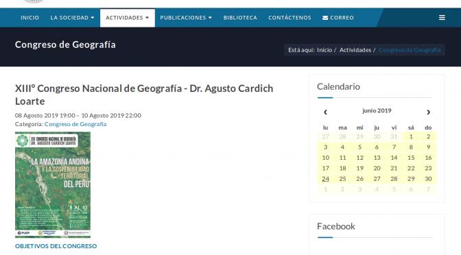 XIII° CONGRESO NACIONAL DE GEOGRAFÍA, DR. AUGUSTO CÁRDICH LOARTE